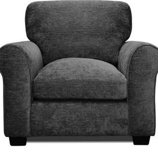 Knightsbridge Upholstered Charcoal Armchair is upholstered in soft
