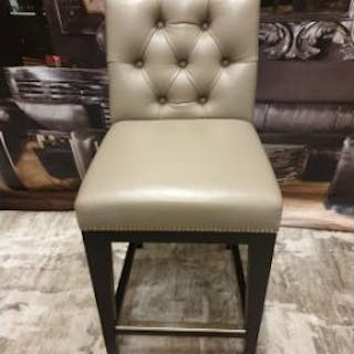Olive Grey Leather Button Back Studded High Stool With Chome Back