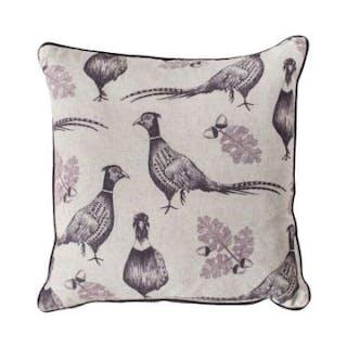 Pheasant And Acorn Cushion Plum
