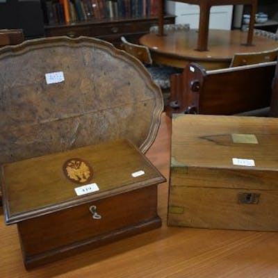 An inlaid oak box with key, a brass bound mahogany box and a burr