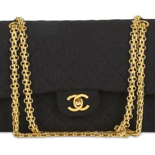 bf071d8076f473 Chanel Black Jersey 2.55 Double Flap Bag, c. 1986-88, quilted jersey –  Current sales – Barnebys.com