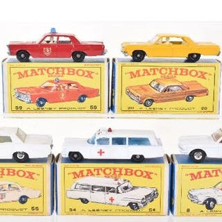 Five Boxed Matchbox Regular Wheel USA Model Cars