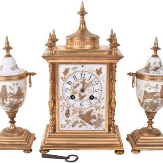 A 19th century French ormulo and porcelain clock garniture, by Japy