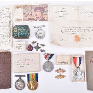 WWI Victory and War medal awarded to 34667 Private C. Butcher N. Staff