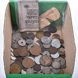 A selection of world coins and banknote's