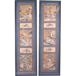 An interesting pair of 19th / early 20th century Chinese silk woven