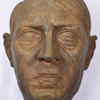 Large and Impressive Bronze Forward Facing Head of Adolf Hitler