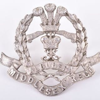 Silver Middlesex Regiment Officers Cap Badge