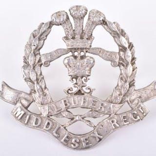Silver Middlesex Regiment Officers Cap Badge
