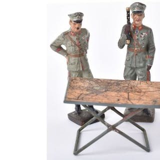 2x Third Reich Lineol Generals and Map Table