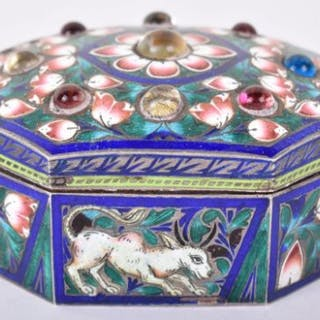 An Indian silver and enamel silver box