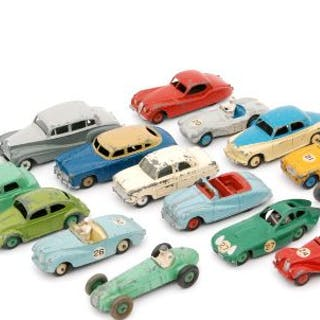 A collection of playworn Dinky Toys diecast model cars to include