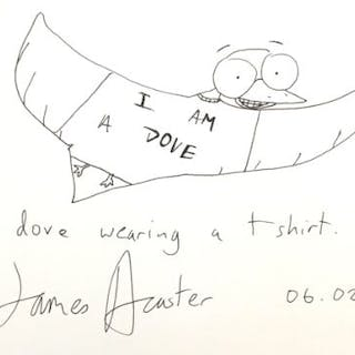 James Acaster - 'I am a dove wearing a t-shirt', black ink fine line