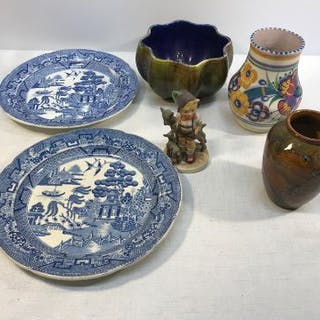 Selection of pottery, Goebel figure, Royal Doulton and Poole vase