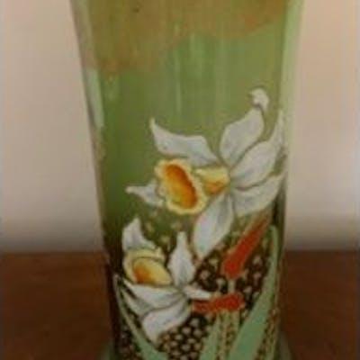 Legras 1920's glass vase with enamelled daffodil design 26.5 cm high