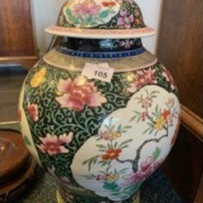 Chinese porcelain Famille Rose black ground vase and cover prob.18th
