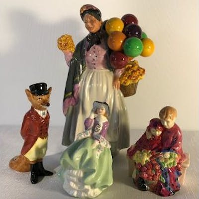Four Royal Doulton figurines including Top O The Hill, Biddy Pennyfarthing