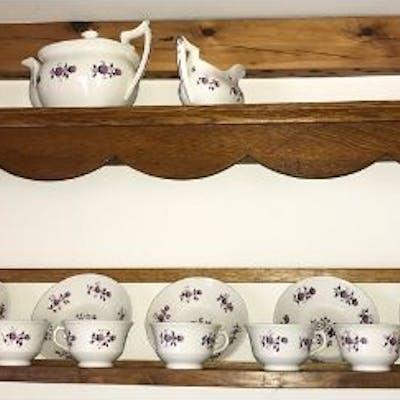 Large quantity 19thC tea pot including 10 cups, 7 saucers, jug, bowl