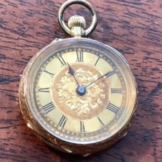 Ladies 18ct yellow gold pocket watch