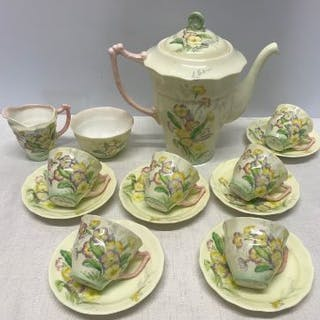 Old Royal Bone China coffee service comprising of a coffee pot, six