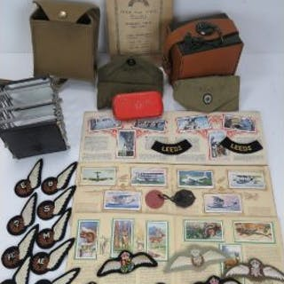 A quantity of WWII British military items, including; cigarette card