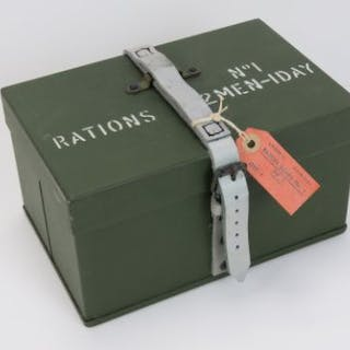 A British Military Cold War era two-man ration tin containing Cold