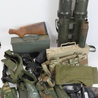 A quantity of modern militaria including; Winchester stock, ammo tubes