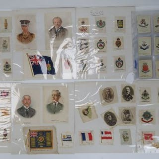 A quantity of military themed cigarette silks including large size