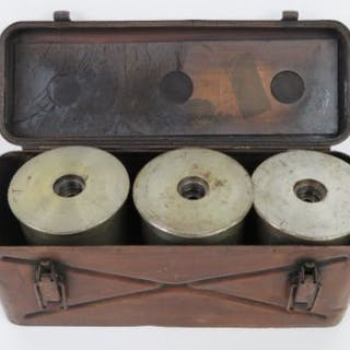 A quantity of WWII German 11cm JFH cannon cases in original carry