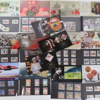 Thirteen Isle of Mann Post Office mint presentation pack stamps including;