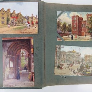 A collection of early 20th century vintage postcards contained within