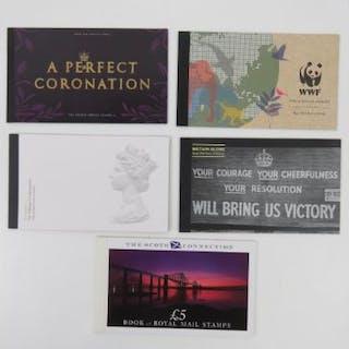 Five Royal Mail commemorative prestige stamp books; 'A Perfect Coronation'