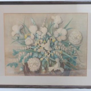 Watercolour; a large study of flowers, signed lower left Ingrid Sunbergbuch