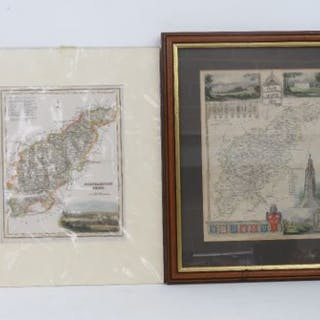Two 19th century Northamptonshire county maps; one frame done mounted.