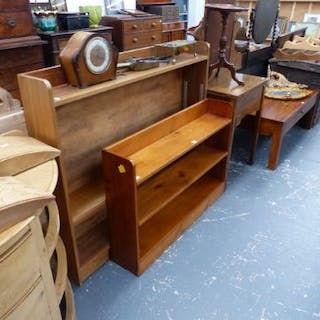 TWO BOOKCASES, A SEWING MACHINE AND A WINE TABLE TOGETHER WITH A CLOCK,ETC.