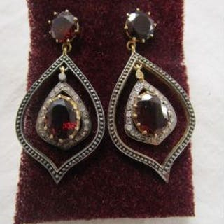 Pair of garnet and diamond drop earrings