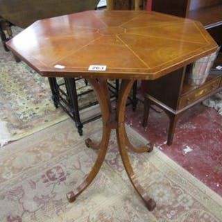 Octagonal walnut inlaid occasional table