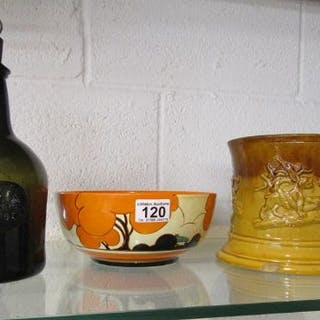 Early glass bottle, Clarice Cliff bowl and treacle ware jug - All A/F