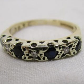 Gold sapphire & diamond set ring