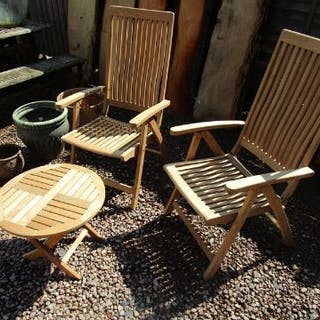 Pair of teak garden chairs and small table