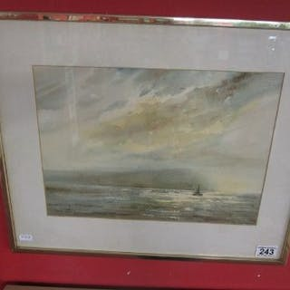 Watercolour - Coastal scene signed David Bellamy