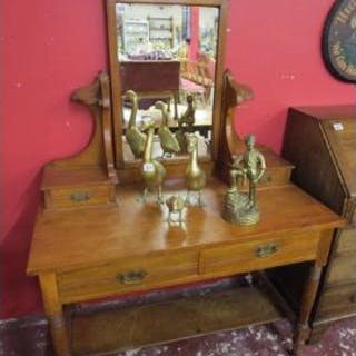 Satin-walnut dressing table