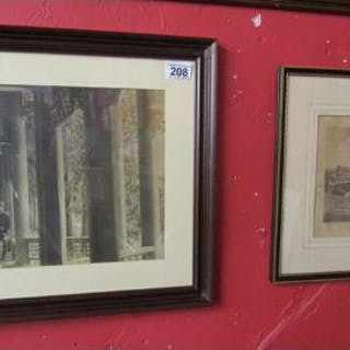 Early framed photograph and an etching