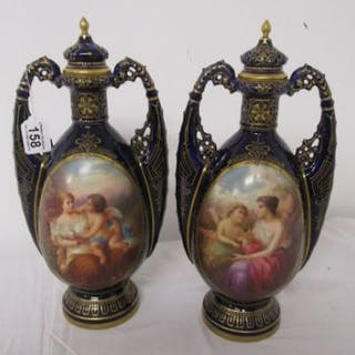 Pair of large & early hand painted & signed Continental lidded urns - H: 40cm
