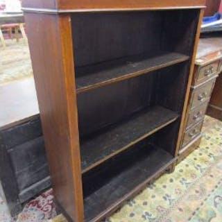 Mahogany inlaid open bookcase