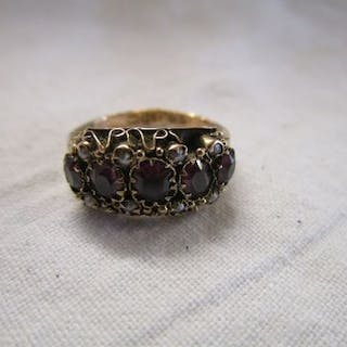 Antique almandine garnet and seed pearl child's ring