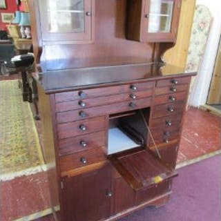 Quality vintage mahogany Dentist's cabinet with graduated drawers
