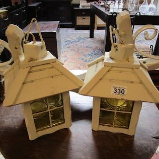 Pair of wooden hanging wall lamps