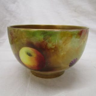 Royal Worcester hand painted sugar bowl - Fruit theme signed R Austin