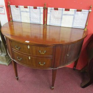 Fine Victorian demi-lune sideboard with tambour front cupboards -